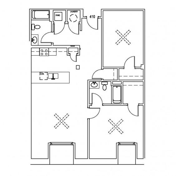 Unit 410: 1,216 SF