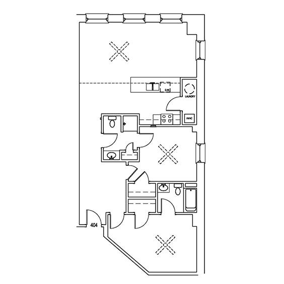 Unit 404: 1,157 SF